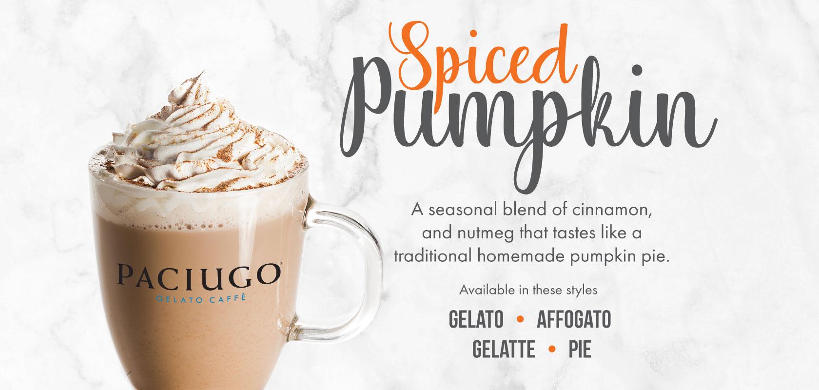 Spiced Pumpkin Gelato! A seasonal blend of cinnamon and nutmeg that taste like a traditional pumpkin pie!